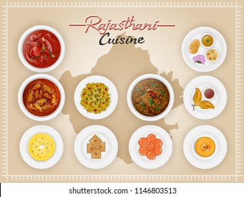 Top view of Rajasthani cuisine set with illustration of brown state map.