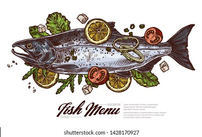 Top view raw salmon. Fish meat for grill and barbecue with greenery and lemon. Restaurant seafood dish. Vector color drawing engraved sketch. Food illustration