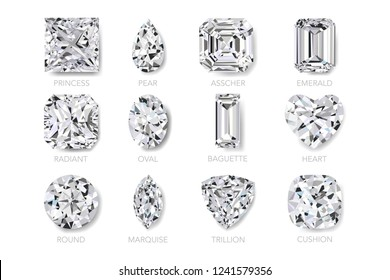 Top view of realist vector illustration of twelve best clarity diamonds of most popular cut shape and design with their names, isolated on white background.