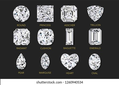 Top view of realist vector illustration of twelve best clarity diamonds of most popular cut shape and design with their names, isolated on Black background.