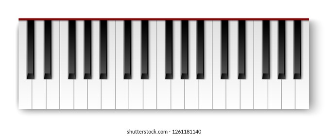 Top view of realistic detailed shaded piano keyboard.