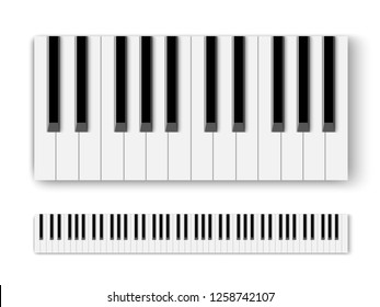 Top view of realistic shaded monochrome piano keyboard.