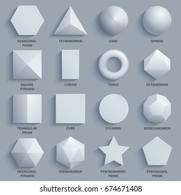 Top view realistic white math basic 3d shapes vector set. Three dimensional geometric figures. Geometric shape figure form illustration