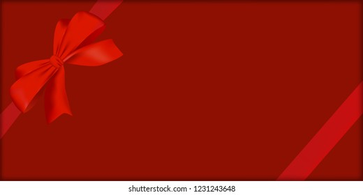 Top view of red gift box and bow. Concept design for Valentine's Day greeting flyer or poster In vector illustration. It also can be used for Christmas and new year gift boxes