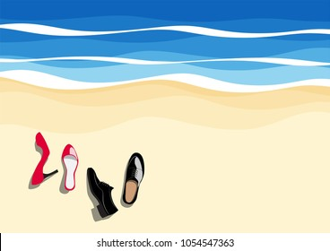 top view of red high heels and leather shoe on the beach, vector illustration, concept is have a rest, people who work hard want to take a vacation for relax.