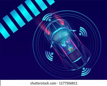 Top View of remote sensing, automotive car on urban lanscape background.