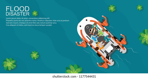 Top view of rescue team helping people by pushing a boat through flooded water, Boat rescue vector illustration.