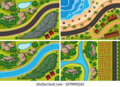 Top View of River and Nature illustration