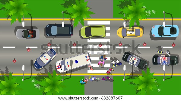 Top View Road Incident City Street Stock Vector (Royalty Free) 682887607