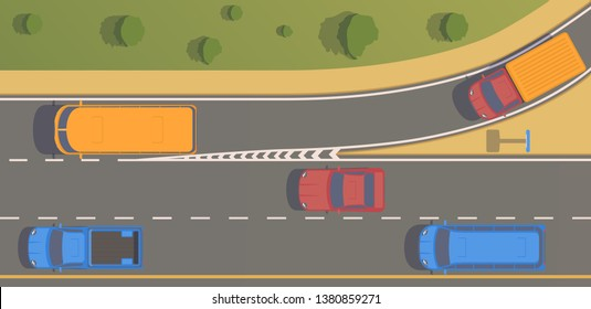 Top view road junction. Right turn branches and congresses.Vector flat illustration.