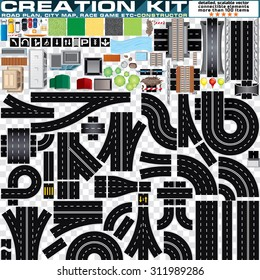 Top View Road Plan, City Map, Race Game, Creation Kit. Highway Vector Design Elements