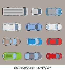 Top view road transport vehicle car automobile van bus micro SUV sedan wagon truck roadster sportscar icon set. Flat style creative web site vector illustration.