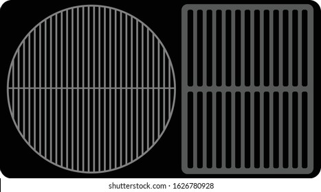 A Top View of a round and a rectangular Grill Surface on a black background.  Created in layers for easy modification and isolation