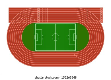 Top view of running track and soccer field