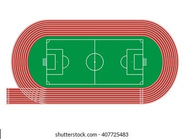 Top view of running track and soccer field on white background Vector illustration