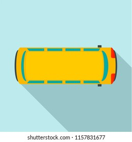 Top view school bus icon. Flat illustration of top view school bus vector icon for web design