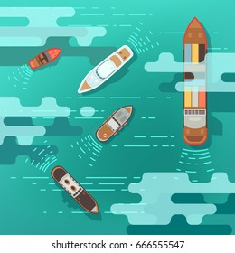 Top view sea ship and shipping boat on ocean water surface vector illustration. Ship and boat, travel yacht in ocean