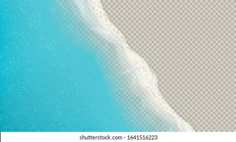Top view of sea waves isolated on transparent background. Vector illustration with aerial view on realistic ocean or sea waves with foam.