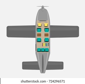 Top View Seat Map of Small Passenger Propeller aircraft