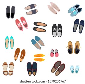 top view set, collection of men's and women's shoes