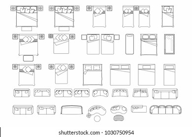 Top view of set furniture elements outline symbol for bedroom and living room. Interior icon bed and sofa.