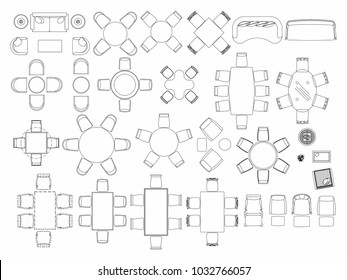 Top view of set furniture elements outline symbol for dining room, cafe, restaurant and living room. Interior icon chair, table and sofa.