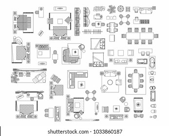 Top view of set furniture elements outline symbol for bedroom, kitchen, bathroom, dining room and living room. Interior icon bed, chair, table and sofa.
