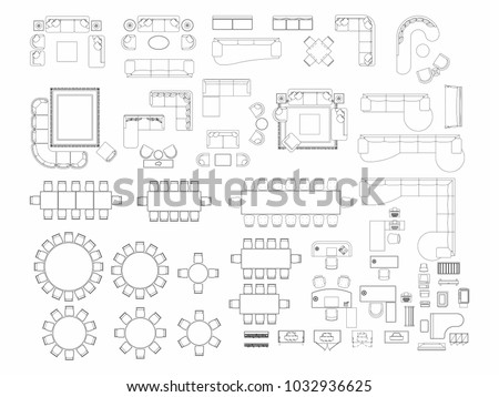 Top View Set Furniture Elements Outline Stock Vector Royalty Free