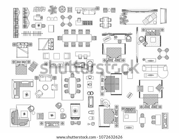 Image Vectorielle De Stock De Top View Set Furniture Elements