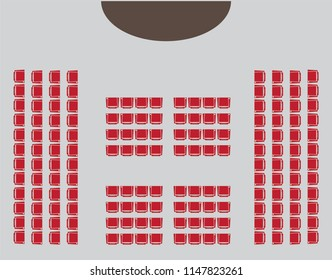 Top View show Seat in the Hall Vector and illustration