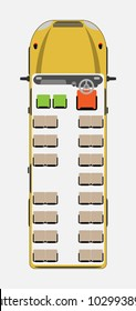 Top View show seat map of School Bus Vector