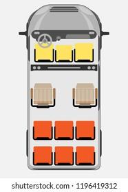 Top View show Seat Map of Passenger Big Van Car