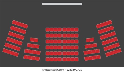 Top View show Seat in the Theater  with dark background Vector and illustration