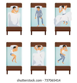 Top view of single bed with sleeping men in different poses decorative icons set  isolated vector illustration