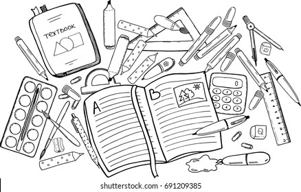 Top view sketch drawing black and white outline doodles with school stationery elements. Working mess on student`s desk, randomly situated objects for learning and doing homework. Vector illustration.