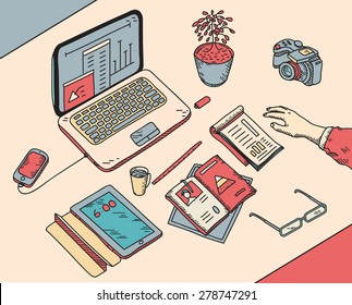 top view sketch hand drawn office or fome workplace freelancer with business objects and items lying on a desk laptop, digital tablet, mobile phone, documents.