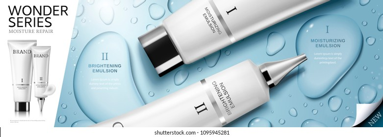 Top view of skin care emulsion product with water drops on blue background in 3d illustration