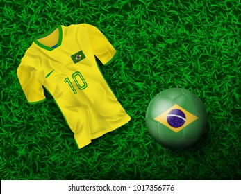 Top view of soccer ball in Brazilian flag designed with t-shirt on grass field and copy space on right top. Concept for background of football tournament at Brazil in vector illustration.