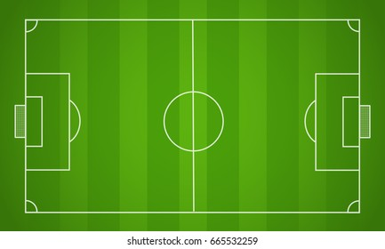 Top view of soccer field or football pitch, Vector illustration.
