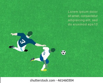 Top view of soccer players in action, vector background