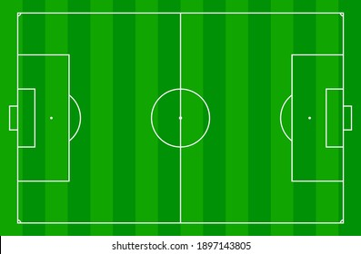 top view of standard size layout empty sport soccer field vector graphic illustration. Team sports recreation competition background