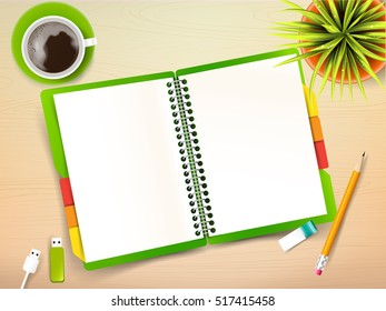 Top view of stationary pen pencil eraser green cover notebook and coffee cup with copy space on wooden background vector illustration  eps 10