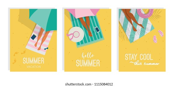 Top view of a summer background. Summer water activities. Women relaxing at the beach. Vector cards, poster design illustration