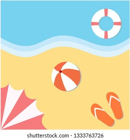 Top view summer beach with umbrellas, ball, swim ring, sandals and sea. Design by Inkscape