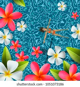 Top view, summertime, holidays background, young woman swimming, relax in swim pool water, frangipani flowers, vector.