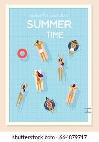 Top view, summertime, holidays poster. People swimming, relax, have a fun time in the pool. Vector cartoon illustration. Summer time poster. Flat design, trendy style. Young men and women
