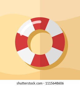Top view of Swim Tube on sand. Paper art style, For Summer Icon, Background Design.