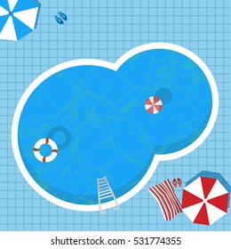 Top view of swimming pool with clean water, Summer time concept.