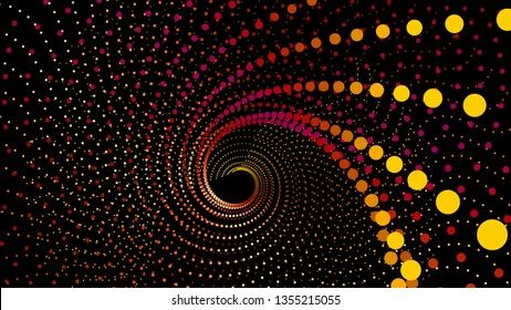 Top view swirl from dots in perspective depth. Array structure of 3d sea. Vector technology background. Colorful infinity space funnel for print or web design.
