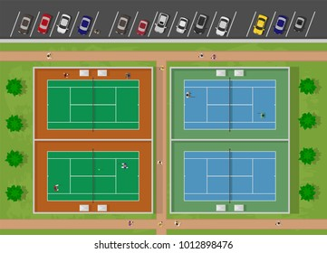 top view of tennis court with people and car parking lot. vector Illustration
